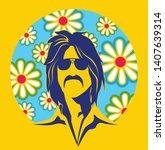 70's fashion man with colorful...   Shutterstock .eps vector #1407639314