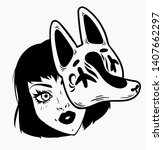 girl with fox mask. traditional ...   Shutterstock .eps vector #1407662297