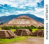 pyramids of the sun and moon on ... | Shutterstock . vector #140766415