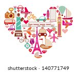 Travel Love - shape of heart with many isolated vector icons. - stock vector