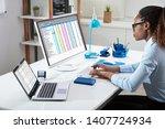 side view of businesswoman's... | Shutterstock . vector #1407724934