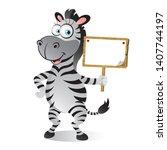cartoon zebra holding a small... | Shutterstock .eps vector #1407744197