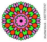 floral color mandala. vector...   Shutterstock .eps vector #1407755747