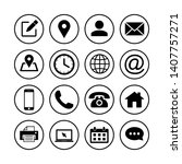 web icon set. contact us icons. ... | Shutterstock .eps vector #1407757271