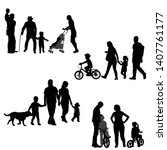 families silhouettes set on... | Shutterstock .eps vector #1407761177