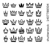 set of hand drawn crowns... | Shutterstock .eps vector #1407788504
