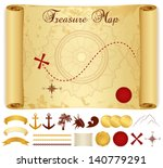 Постер, плакат: Treasure Map on old