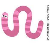 Cute Cartoon Worm Isolated On...