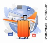 orange suitcase and airplane... | Shutterstock .eps vector #1407800684