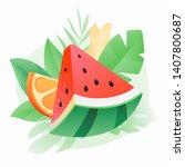 watermelon and orange slice... | Shutterstock .eps vector #1407800687