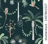 jungle life vector color... | Shutterstock .eps vector #1407801527