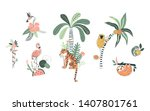 wild nature hand drawn vector... | Shutterstock .eps vector #1407801761