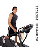 Healthy Young Man Workout on Treadmill - stock photo