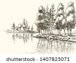 Trees On Lake Shore Or River...
