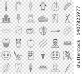tooth icons set. outline style... | Shutterstock .eps vector #1407825977