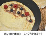 homemade crepes in closeup with ...   Shutterstock . vector #1407846944
