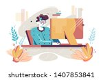 flat young man with home... | Shutterstock .eps vector #1407853841