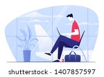 vector illustration of a young... | Shutterstock .eps vector #1407857597