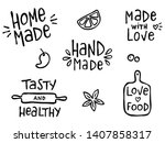 set of hand drawn simple... | Shutterstock .eps vector #1407858317