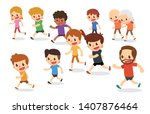 running cartoon characters.... | Shutterstock .eps vector #1407876464