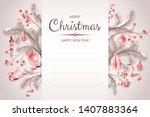 christmas postcard with fir...   Shutterstock .eps vector #1407883364