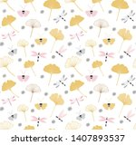 Stock vector seamless pattern with cute dragonflies and ginkgo leaves design on white background colorful 1407893537