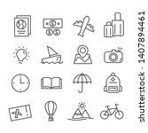 travel icon set in modern flat...   Shutterstock .eps vector #1407894461