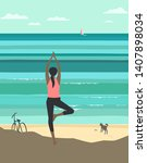 beach yoga relax flat color... | Shutterstock .eps vector #1407898034