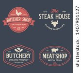 set of butcher shop and... | Shutterstock .eps vector #1407901127