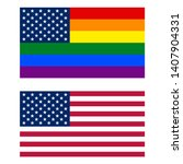 american and lgbt rainbow flags.... | Shutterstock .eps vector #1407904331