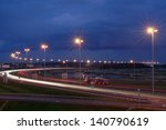 ST-PETERSBURG, RUSSIA - SEPTEMBER 17: Ringway St Petersburg, September 17, 2009. Mast lighting on the night road. Electric lighting on night the highway. Russian highways. - stock photo