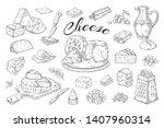 Cheese Sketch. Hand Drawn Milk...