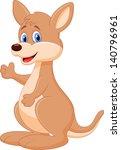cute baby kangaroo cartoon | Shutterstock .eps vector #140796961