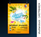 vector summer party flyer... | Shutterstock .eps vector #1407984824