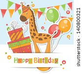 happy birthday card . colorful... | Shutterstock .eps vector #140800321