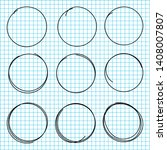 hand drawn circle lines. set of ... | Shutterstock .eps vector #1408007807