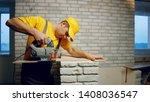 builder cuts laminate. builder...   Shutterstock . vector #1408036547