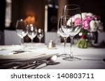 empty glasses set in restaurant | Shutterstock . vector #140803711