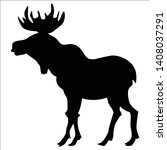 black silhouette of moose  side ... | Shutterstock .eps vector #1408037291
