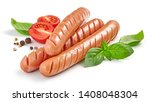 grilled sausages with herbs and ... | Shutterstock . vector #1408048304