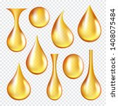 oil transparent drops. yellow... | Shutterstock .eps vector #1408075484