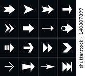 16 arrow sign pictogram set....