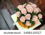 a bouquet of pink roses in the... | Shutterstock . vector #1408110527