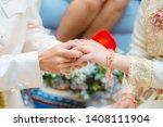 the groom wearing the wedding... | Shutterstock . vector #1408111904