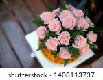 a bouquet of pink roses in the... | Shutterstock . vector #1408113737