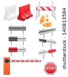 set icons road barrier vector... | Shutterstock .eps vector #140813584