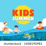 Happy Kids Play And Swim In The ...