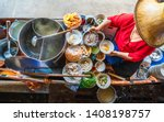 Stock photo top view old woman cooking thai noodle soup tom yam style on thai tradition boat in local floating 1408198757