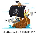 pirate ship flat vector... | Shutterstock .eps vector #1408203467
