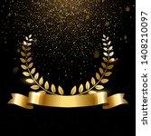 realistic gold laurel wreath...   Shutterstock .eps vector #1408210097